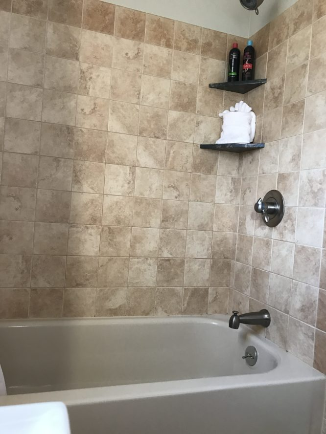 tile surround shower and bathtub